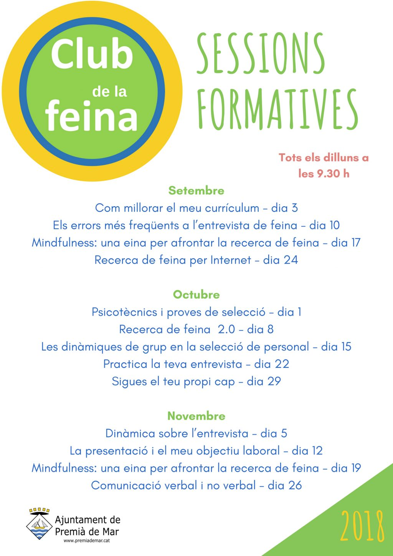Club de la Feina: noves sessions formatives