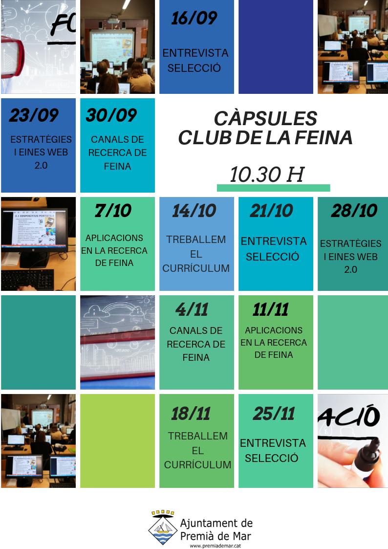 A partir del 16 de setembre es reinicien les càpsules formatives del Club de la Feina