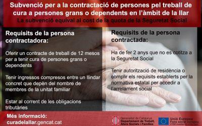 Subvencions per al foment i la creació de nova ocupació en l'àmbit del treball domiciliari de cures de persones grans i dependents